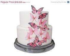 CAKE DECORATIONS  Edible Butterflies 12 Large by incrEDIBLEtoppers, $10.40