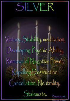 / Book of Shadows Candles: Silver ~ Victory, Stability, . / Book of Shadows