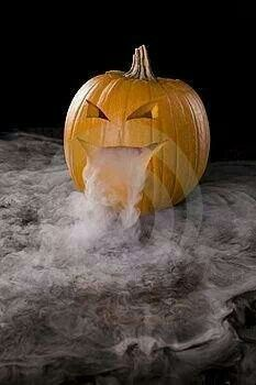 Dry ice in Jack o Lantern for fog