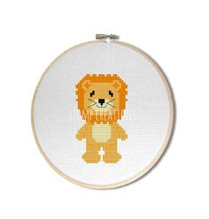 """Lion cross stitch pattern: """"Cute kawaii lion"""" - cross stitch pdf pattern, zoo cross stitch, jungle stitch, circus animal - INSTANT DOWNLOAD"""