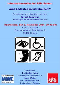 """Flyer für unsere Infoveranstaltung am 06. November 2014. """"Was bedeutet Barrierefreiheit?"""" Flyer, November, Freedom, November Born"""