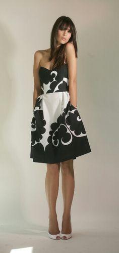 Marimekko black and white dress. Cute