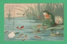 An poster sized print, approx (other products available) - Frog fishing on a French April Fool postcard, with a comic verse about the frog being eaten by a mackerel. Date: circa - Image supplied by Mary Evans Prints Online - Poster printed in the USA Fine Art Prints, Framed Prints, Canvas Prints, Frog Illustration, Frog Art, Holiday Postcards, April Fools, Vintage Cards, The Fool