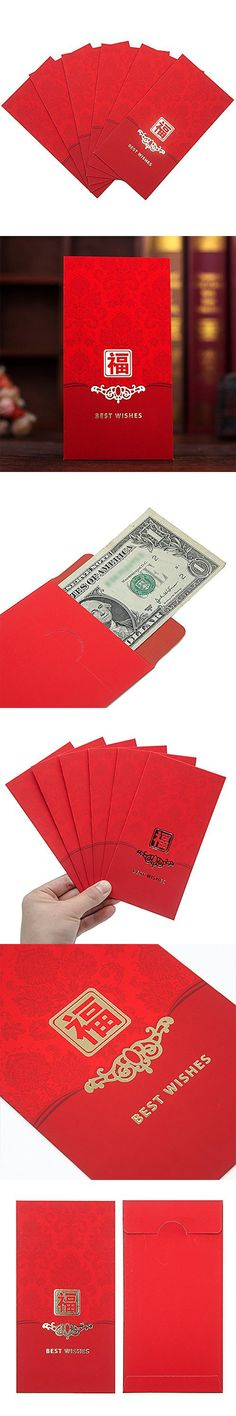 Pocket Money Packet for Chinese New Year Wedding Gift Red Envelopes Expressing Abundance Bliss 6.7'' x 3.5'' Pack of 6 by AUXO-FUN (Best Wishes)