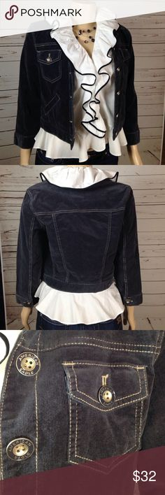 NWT American Eagle navy corduroy crop jacket M BWT navy cord jacket is great for layering with a tee or a blouse.  Extra button included with AE tag. Size medium but runs small.  Check out the rest of my closet!  Suggested User with great reviews!  Bundle for 20% off 2+ items!! American Eagle Outfitters Jackets & Coats Jean Jackets