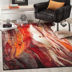 SAFAVIEH Glacier Bree Modern Abstract Rug - On Sale - Overstock - 11724988 - 9' x 9' Square - Red/Multi Polypropylene Rugs, W 6, Online Home Decor Stores, Online Shopping, Grey Rugs, Living Room Bedroom, Teen Bedroom, Dorm Room, Blue Area Rugs