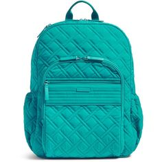 Vera Bradley Campus Tech Backpack (515 SAR) ❤ liked on Polyvore featuring bags, backpacks, vera vera turquoise sea, mesh backpack, blue backpack, vera bradley bags, zipper bag and mesh bag