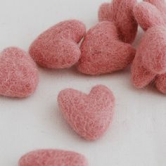 3cm 100% Wool Felt Hearts - 10 Count - Dusty Rose Pink