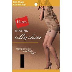 Hanes Silky Sheer Shaping Mid-Thigh Control Top Pantyhose