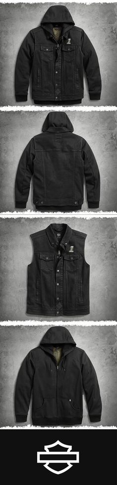 No plan? No problem. The 3-in-1 vest is on standby for any outing. | Harley-Davidson Men's 3-in-1 Denim Slim Fit Riding Vest