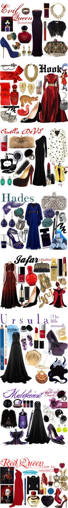 """Disney Villians' Gowns"" by aidasifuentes ❤ liked on Polyvore. I love the sophistication of this"