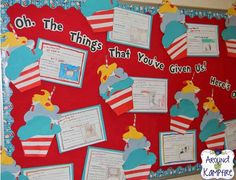 "Dr. Seuss birthday cupcakes writing craft. Students wrote about the things Dr. Seuss has given them as readers then ""baked"" him a cupcake and wrote about a gift they would like to give him in return! This was a huge hit!"