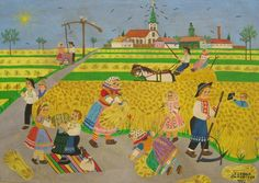 Harvesting - Naive Art from Kovacica, ZUZANA CHALUPOVA, Oil on Canvas