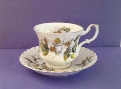 Royal Albert White Trillium Bone China England Montrose Style Teacup Set by Whitepearlfinds on Etsy https://www.etsy.com/listing/239752824/royal-albert-white-trillium-bone-china