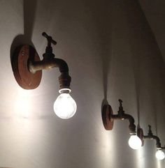"nice Recycling Ideas for Home. # Lampen ""light up your mind"" DIY Rustic Lighting, Industrial Lighting, Home Lighting, Lighting Design, Lighting Ideas, Diy Luminaire, Pipe Lamp, Lamp Light, Light Fixtures"