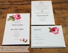 Vintage Rose Fabric Wedding Invitations by Tikety Boo Design (www.tiketyboodesign.com), based in Rugby, Warwickshire, UK, posts worldwide.  Prices start from £1.30.  Personalised samples always free. Wedding Invitations Uk, Wedding Stationery, Stationery Design, Vintage Roses, Rugby, Posts, Fabric, Free, Tejido