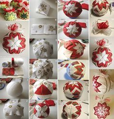 """No-Sew """"Quilted"""" Christmas Ornament Quilted Fabric Ornaments, Quilted Christmas Ornaments, Christmas Sewing, Christmas Fabric, Handmade Christmas, Christmas Crafts, Christmas Decorations, Ball Decorations, Ornament Crafts"""
