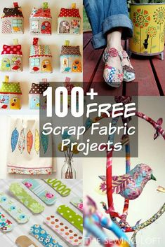 100+ Scrap Fabric Projects Rounded Up in one place. The Sewing Loft #knitfabricscrapprojects