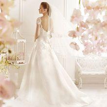 2015 White Elegant Bride Dress 2015 French Style Wedding Dress Short Sleeves Barato Moda Vestido de Casamento Gowns Bride A039A