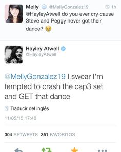 Steve and Peggy should totally have a legitimate dance even though it makes no sense in canon.   In other obvious news, Hayley Atwell is an absolute angel.