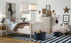 Kids Bedroom, 15 Stylish Boys Room Decors from Baby & Child Restoration Hardware: Amazing Cream And Blue Boys Room Decor With All White Furniture And Blue Striped Rug