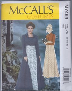 McCalls 7493 manca Regency femminile Jane Austen vestito giacca Spencer UNCUT Sewing Pattern