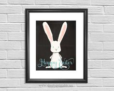 Happy Easter Bunny Wall Print Easter Decor 8x10 by simplyprintable