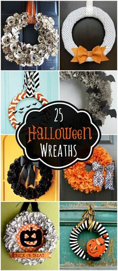 A collection of 25 Halloween wreaths to inspire you for your Halloween decor! {…