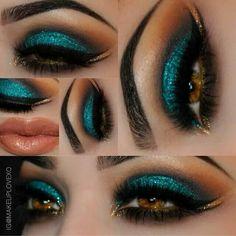 Peacock Inspired Dramatic Eye Makeup Ideas Pfau inspiriert dramatische Augen Make-up-Ideen Gorgeous Makeup, Love Makeup, Makeup Inspo, Makeup Inspiration, Beauty Makeup, Hair Makeup, Makeup Ideas, Exotic Makeup, Turquoise Eye Makeup