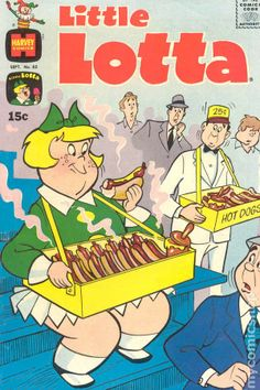 Little Lotta eating hot dogs at a baseball game cover Series) vintage comic book. Best Comic Books, Vintage Comic Books, Vintage Comics, Vintage Posters, Book Club Books, New Books, Old Magazines, Fashion Magazines, Classic Comics