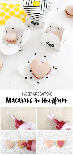 Himbeer-Mascarpone-Macarons in Herzform