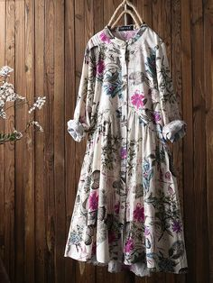 Leaves Floral Print Pleated Long Sleeve Vintage Dress is high-quality, see other cheap summer dresses on NewChic. Shift Dresses, Day Dresses, Casual Dresses, Fashion Dresses, Long Sleeve Vintage Dresses, Robes Vintage, Cheap Summer Dresses, Robes Midi, Vestidos Vintage