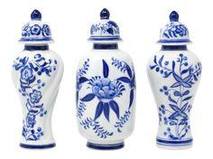 Blue and White Petite Temple Jars - Set of 3 Jar Art, Blue And White Vase, Asian Decor, Love Blue, Ginger Jars, Japanese Design, Velvet Pillows, White Decor, Beach House Decor