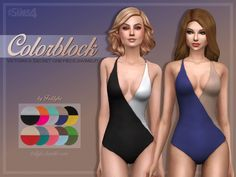 Colorblock One-Piece Swimsuit at Trillyke via Sims 4 Updates