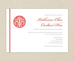 Wedding Invitations Red Double Happiness Chinese Wedding by elsiej, $2.00 - maybe for the tea ceremony invitation?