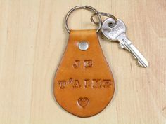 Je T'aime Keychain  Leather Je T'aime Key by TinasLeatherCrafts. Repin To Remember.