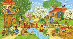 Marion Krätschmer - Garten im Frühling Four Seasons Art, Picture Comprehension, Farm Pictures, Hidden Pictures, English For Beginners, Dora, Poster Online, Picture Writing Prompts, Puzzle Art