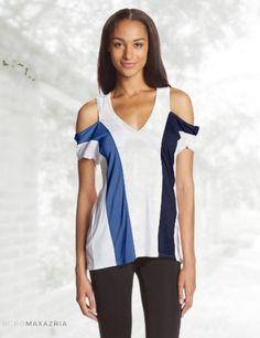 BCBGMAXAZRIA Women's Preslee Colorblock Short Sleeve Coldshoulder Top