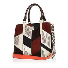 Cabas rouge style patchwork - Cabas - maroquinerie - femme