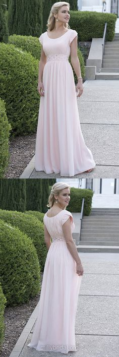 Empire Prom Dresses Pink,Long Formal Evening Dresses Modest,Scoop Neck Chiffon Party Dresses Beading Short Sleeve Graceful