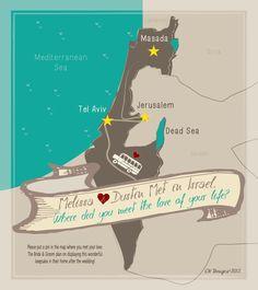 Israel wedding map by CW Designs