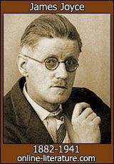 "James Joyce, Irish Novelist, 1882-1941; ""Ulysses,"" ""Finnegan's Wake,"" and many short stories, poetry ""Chamber Music."""