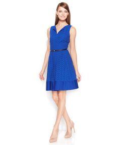 Calvin Klein Cotton Eyelet Belted Dress - Dresses - Women - Macy's
