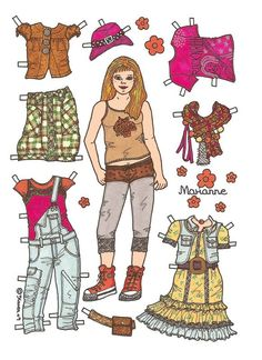 Marianne Paper Doll in Colours. Marianne påklædningsdukke i farver. Paper Toys, Paper Crafts, Female Names, Vintage Paper Dolls, Childhood Toys, Retro Toys, Art Pages, Doll Clothes, How To Draw Hands