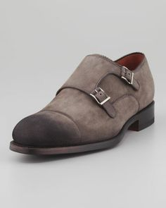 Double-Monk+Suede+Loafer,+Gray+by+Magnanni+for+Neiman+Marcus+at+Neiman+Marcus.