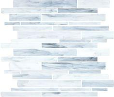 #VitraArt #StainedGlass #RandomStripMosaic in #Carrara - Available at #MidAmericaTile  #mosaic #glass #tile #backsplash #bath #kitchen #white #gray #grey #bianco #grigio #grayscale #monochrome #MarbleLook
