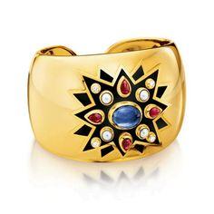 Verdura |Blue sapphire, ruby, pearl, diamond, enamel and 18k yellow gold.  | BRACELETS | CUFFS | Sunburst Cuff