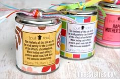 Tin Can Treats {For Mother's Day & Teacher Appreciation! Best Mothers Day Gifts, Mothers Day Crafts, Gifts For Mom, Tea Gift Baskets, Craft Party, Cute Gifts, Awesome Gifts, Teacher Appreciation, Creative Gifts