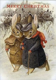 """Beatrix Potter """"Once upon a time there were four little Rabbits, and their names were--Flopsy, Mopsy, Cottontail, and Peter. Christmas Images, Christmas Art, Christmas Postcards, Merry Christams, Beatrix Potter Illustrations, Book Illustrations, Beatrice Potter, Peter Rabbit And Friends, Illustration Noel"""