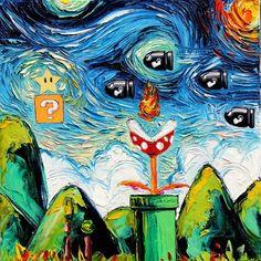 Video Game Art - Super Mario Bros - Starry Night Giclee Gamer print van Gogh Never Met Bullet Bill by Aja sizes Hama Beads Minecraft, Perler Beads, Instructions Lego, Art Hama, Video Game Art, Set Video, Video Game Drawings, Art Pop, Pablo Picasso